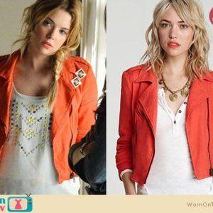 Free People Orange Linen Blend Moto Jacket Sz 10